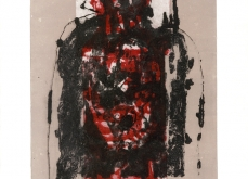 Autoportrait rouge 2000 gravure au carborundum sur papier Arche 80X120cm édition limitée.