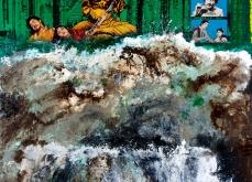Tsunami, 2005, huile sur toile et collage, 220X210 cm, collection privée.