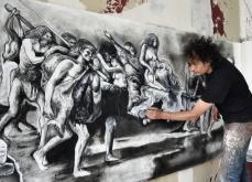 Préparation de l'exposition, Odyssée. Atelier Ivry s/s, 2016. Photo Bertrand Rieger.