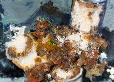 Amalgame de produits culturel, 2005, huile sur toile,197X130 cm. Collection privée.