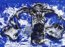 La fuite, 2005, technique mixte sur toile, 133X210 cm.