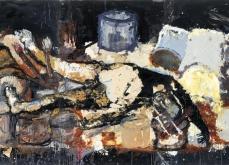 Palette, 2003, huile et collage sur toile, 197X390 cm.