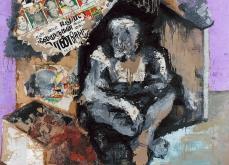 Monbay-Victoria terminus, 2004 , huile sur toile et collage, 200X200 cm.
