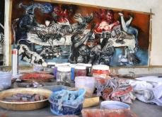 Préparation de l'exposition Baroque flesh, Atelier, Kotakupam, 2009, Inde.