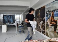 Préparation de l'exposition,Odyssée.Atelier Ivry s/s, 2016.Photo Bertrand Rieger.
