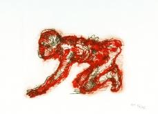 Homme ou chien, 2002, gravure au carborundum sur papier Arche, 55X76 cm, édition limitée.
