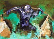 Bengal,  2005, huile sur toile et collage, 197X130 cm.