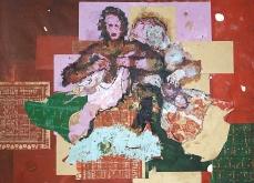 Vendeuses de vêtements, 2001, huile sur toile, 200X240 cm.