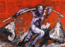 Red Bengal,  2005, huile sur toile et collage,197X130 cm, collection privée.