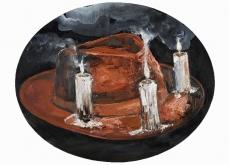 Apothéose, 2015, huile sur toile, 65 cm diam.