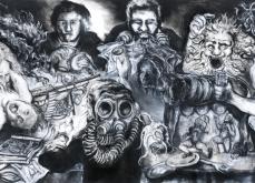 Bacchanales, 2010, pastel sur papier, 130X300 cm.