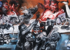 A l'autre bout du monde,  2010, pastel sur papier, 130X300 cm.