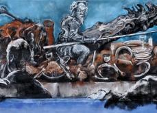 Don Quichotte, 2010, pastel sur papier, 130X300 cm.