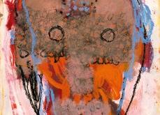 Masque tatoué, huile sur papier, 30X40 cm. Collection privée.