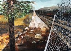 Plan d'évasion, 2014, huile sur toile, 197x130 cm.