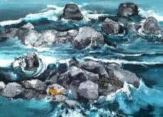 Immersion, 2014, huile sur toile, 130x197cm.