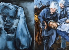 «Sous le ciel de Calais» huile sur toile, 200x400 cm, 2016.