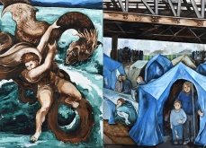 « De charybde en scylla » 2017, Huile sur toile, 200x400 cm.