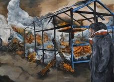 «Le démantèlement, Calais»  huile sur toile, 200x400 cm, 2017.