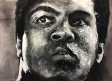 Mohamed Ali, pastel sur papier, 80x120 cm, 2019.