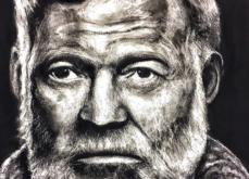 Ernest Hemingway, pastel sur papier, 80x120 cm, 2019.