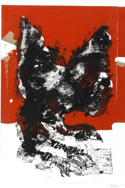 Prédation, 2002, gravure au carborundum sur papier Arche, 75X105 cm, édition limitée