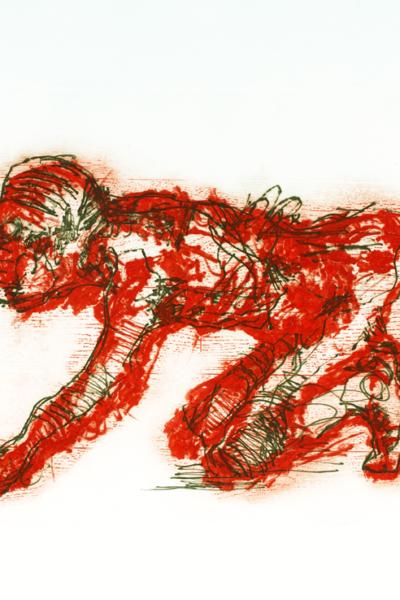 Homme ou chien, 2002, gravure au carborundum sur papier Arche, 55X76 cm, édition limitée