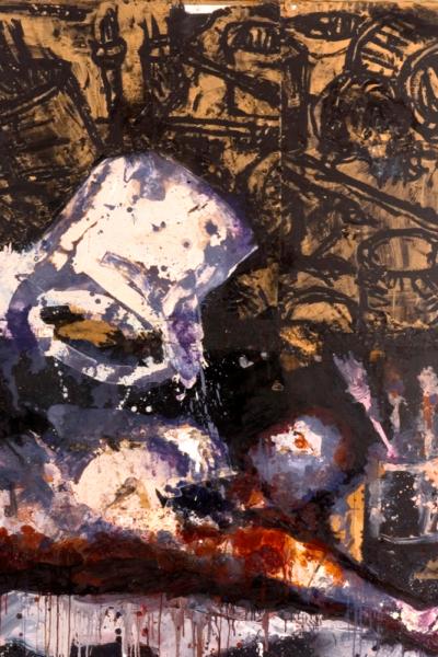Accident de travail ,huile sur toile 195X162 cm, 2005.