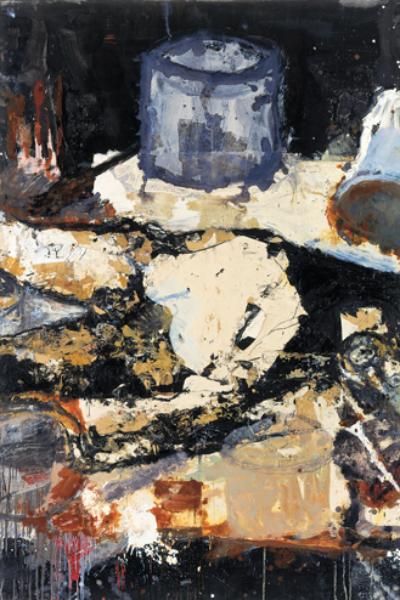Palette, huile et collage sur toile 197X390 cm, 2003.Collection privée.