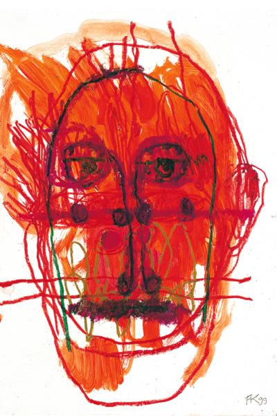 Le vent rouge, huile sur papier, 30x40cm, 1999. Collection privée.