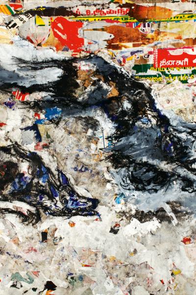 La fuite, huile sur toile et collage 197X130cm, 2005.