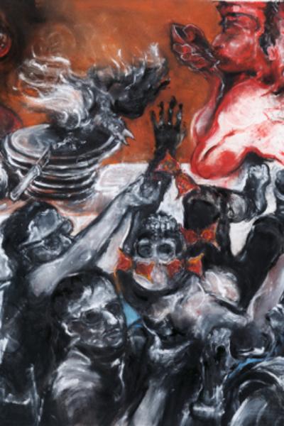 A l'autre bout du monde, pastel sur papier, 130X300 cm. 2010.
