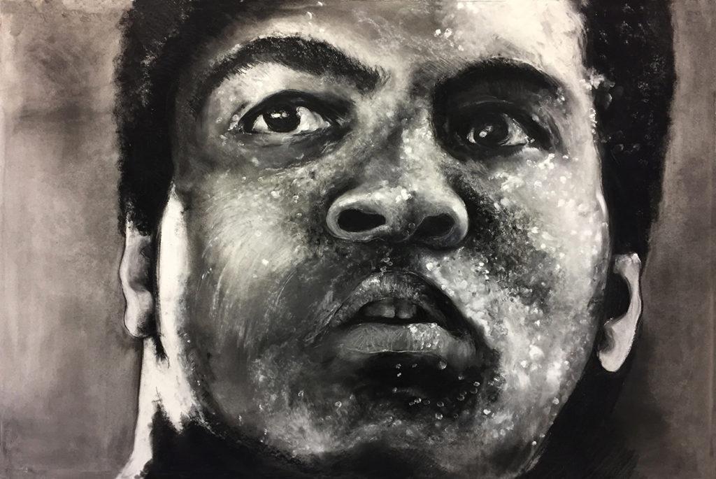 Mohamed Ali, pastel sur papier, 80x120 cm, 2019