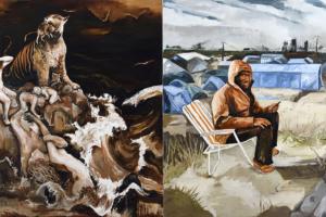 Le chant d'Amar, Mossoul, Huile sur toile, 200x400 cm, 2017.