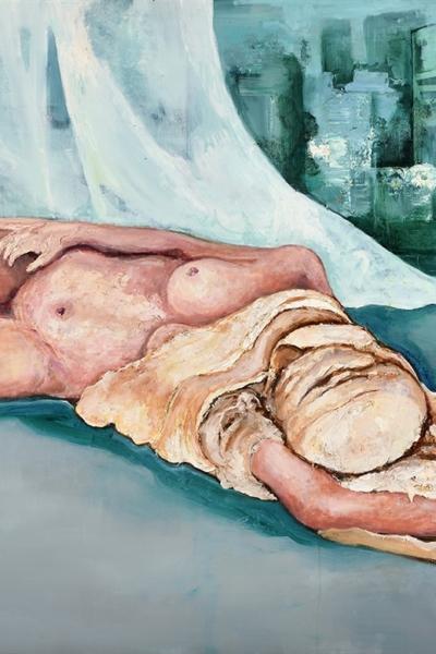 « Dévoiler I »huile sur toile 114x147 cm, 2019