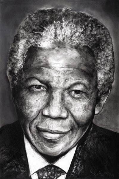 Nelson Mandela, pastel sur papier, 80x120 cm, 2019.