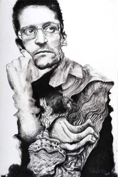 Edward Snowden, pastel sur papier, 80x120 cm, 2019.
