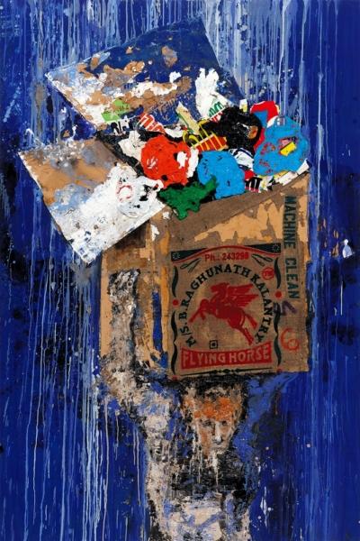 Machine clean, huile sur toile et collage 162x97 cm, 2006.