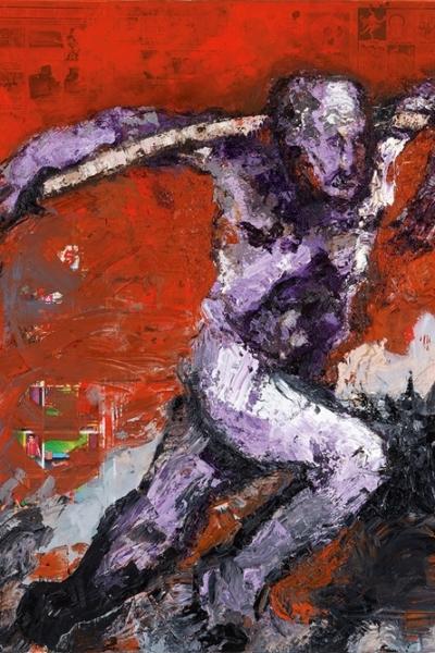 Porteur, huile sur toile 162x97 cm, 2006. Collection privée.