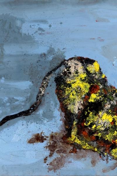 Chien jaune, huile sur toile 130x197 cm, 2006. Collection privée.