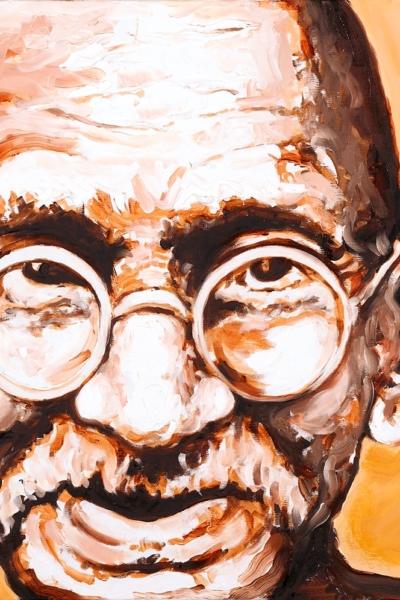 Gandhi, huile sur toile, 60x60 cm, 2009. Collection privée.