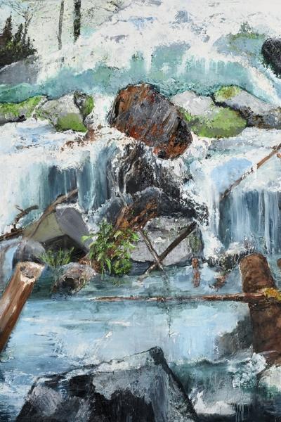 Afflux, huile sur toile 150x150 cm, 2015