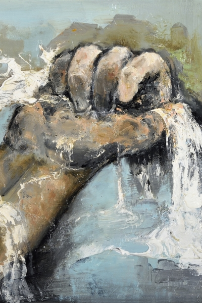 Insaisissable V, huile sur toile 30x30 cm, 2017. Collection privée.