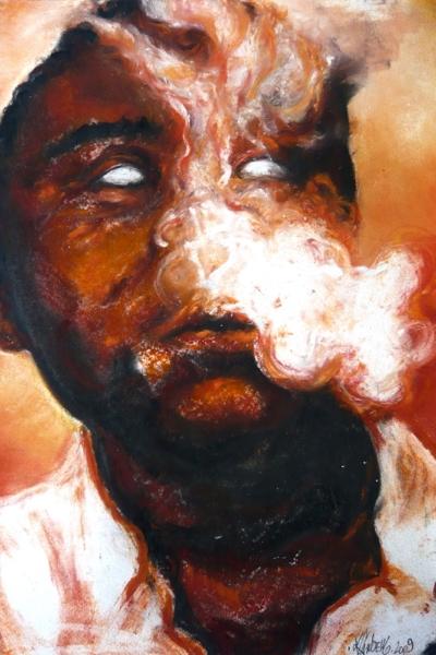 Smoke II, pastel sur papier 57x76cm, 2009.