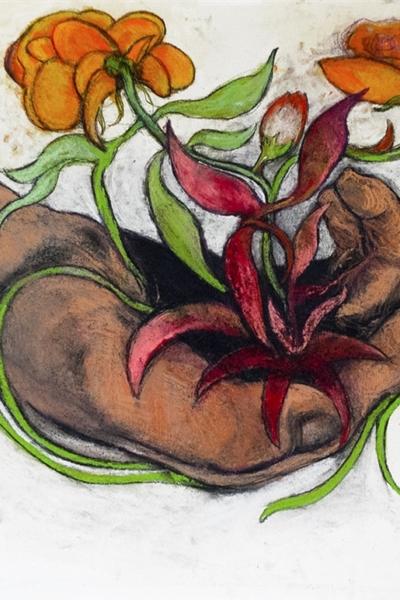 GerminationVI, pastel sur papier 50X76 cm, 2020.