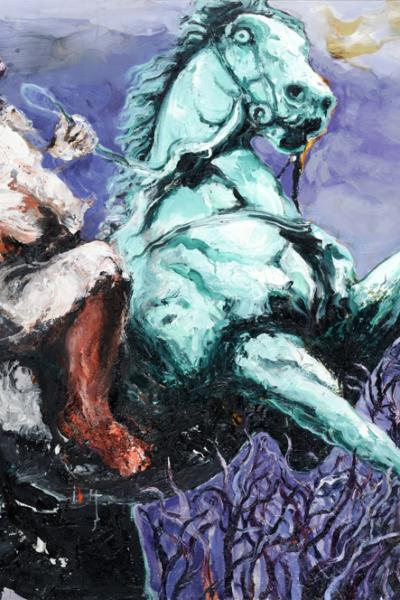 danse des fous, huile sur toile, 130X197 cm, 2011. Collection privée.