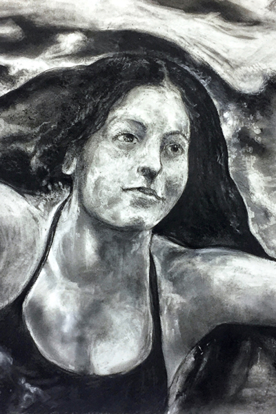 Yusra Mardini, pastel sur papier, 80x120 cm, 2019.