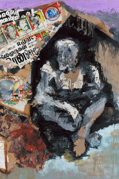 Monbay Victoria terminus, huile sur toile et collage, 200X200 cm, 2004.