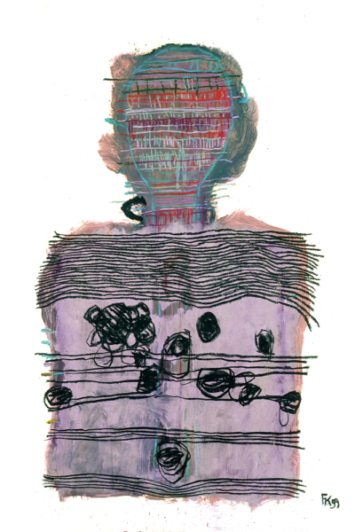 Strate, huile sur papier, 75x105 cm, 1999. Collection privée.
