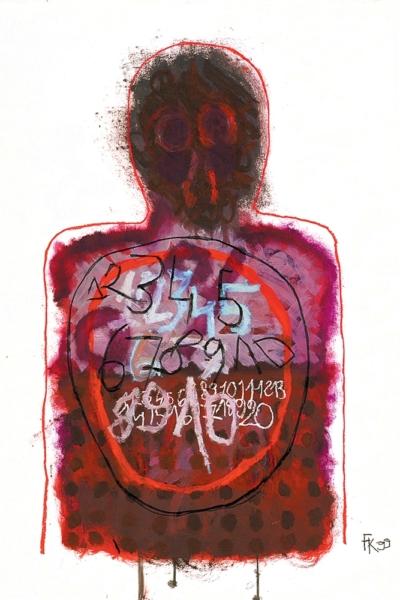 L'homme cible, huile sur papier, 75x105 cm, 1999. Collection privée.